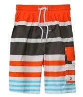 Snapper Rock Boys' Orange Stripe Rashguard Boardshort Set (4-6yrs)