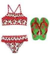 Jump N Splash Girls Red Cherry Flutter Top Set w/FREE Flip Flops