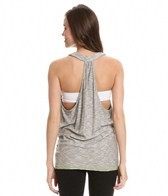 Trina Turk Heather & Mesh Draped T-Back Tank Top