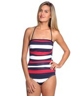 Tommy Bahama Mare Rugby Stripe Shirred Bandeau One Piece
