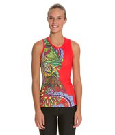 Triflare Women's Red Sari Tri Top