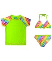 Jump N Splash Girls' Green Hearts 3 Piece Rashguard Set w/FREE Goggles