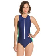 Splendid Sunblock Solid Zip Front One Piece