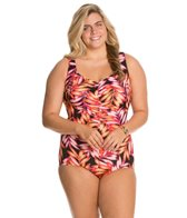 Maxine Plus Size Tonal Leaf Front Shirred Girl Leg One Piece