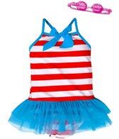 Jump N Splash Girls' Stripe Tutu One Piece w/FREE Goggles (4-6)