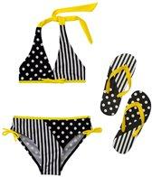 Jump N Splash Girls' Stripes and Dots Bikini Set w/FREE Flip Flops (7-14)
