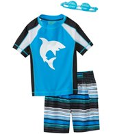 Jump N Splash Boys' Shark S/S Rashguard Set w/FREE Goggles (5-7)