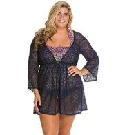 Jessica Simpson Plus Size Cut Out Crochet Tie Front Cover Up