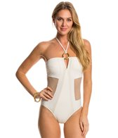 Red Carter Spacenet Mesh Bandeau One Piece