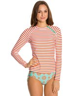 Cabana Life Maldives Striped L/S Zipper Rashguard