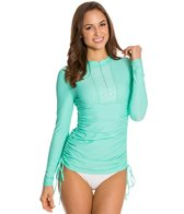 Cabana Life The Essentials Solid L/S Embroidered Ruched Rashguard