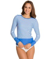 Cabana Life Porcelain Paisley Striped L/S Button Rashguard