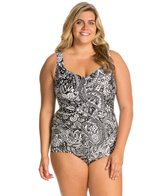 Maxine Plus Size Patchwork Paisley Shirred Front Girl Leg One Piece