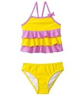 Sunshine Zone Girls' Solid Color Block Ruffle Tankini Two Piece Set (6mos-18mos)