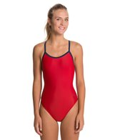Sporti Solid Piped Thin Strap Swimsuit
