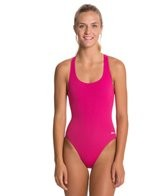 Sporti Polyester Solid Wide Strap Swimsuit