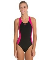 Sporti Polyester Solid Piped Splice Wide Strap Swimsuit