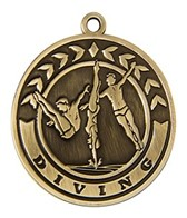 2 Diving Die Cast Medal