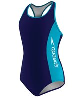 Speedo Girls' Racer Logo Splice