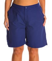 Maxine Plus Size Solid Woven Long Boardshort