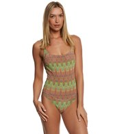 Solar Women's Tan Thru Missoni Gold One Piece