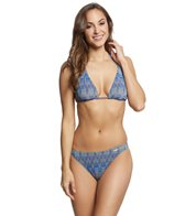 Solar Women's Tan Thru Missoni Blue Bikini Set