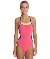 Speedo Flipturns Solid Colorblock One Piece Swimsuit