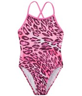 Tidepools Girls' Leopard Contrast Cross Back 1PC (7-14)