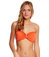 Sofia Solid Orange Ripple Bandeau Top