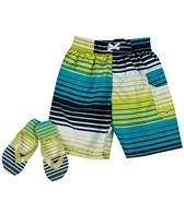 Jump N Splash Boys' Stripe Swim Trunk w/ FREE Flipflops (4-14)