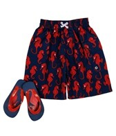 Jump N Splash Boys' Seahorse Swim Trunk w/ FREE Flipflops (4-14)