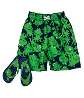 Jump N Splash Boys' Frog Swim Trunk w/ FREE Flipflops (4-14)