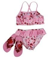 Jump N Splash Girls' Ice Cream Bikini Set w/ FREE Flipflops (4-12)