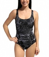 Speedo Line Drawn Floral Princess Seam One Piece