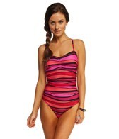 Speedo Woodblock Stripe Keyhole One Piece Swimsuit