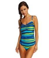 Speedo Woodblock Stripe Keyhole One Piece Swimsuit