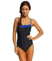 Speedo Color Block Bandeau One Piece Swimsuit