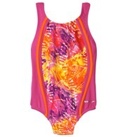 Speedo Girls' Rainforest Tie Dye Sport Splice One Piece (4-6X)