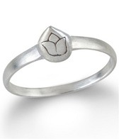 Satya Jewelry Mini Etched Lotus Stackable Ring