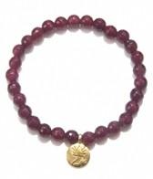 Satya Jewelry Fuschia Agate Lotus Bracelet