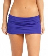 Jantzen Solid Shirred Swim Skirted Bikini Bottom