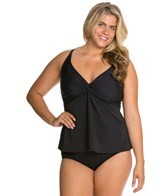 Sunsets Plus Size Black Twist Tankini Top