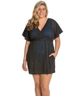 Sunsets Plus Size Coastal Crochet Black Getaway Surplice Dress