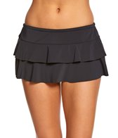 Sunsets Solid Tiered Swim Skirt Bottom