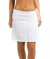 Sunsets Coastal Crochet White A-Line Drawstring Skirt