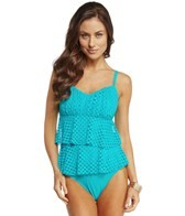 Sunsets Nautical Net Tropical Teal Underwire D/DD/E Cup Tiered One Piece