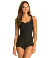 Maxine Shirred Front Nylon Girl Leg One Piece