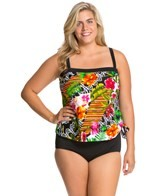 Maxine Plus Size Balinese Dream Bandeau Faux Tankini One Piece