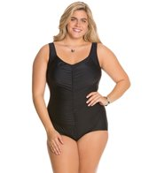 Maxine Plus Size Tricot Shirred Front Girl Leg One Piece