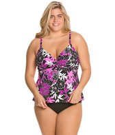 Penbrooke Exotic Journey Plus Size Underwire Twist Tankini Top